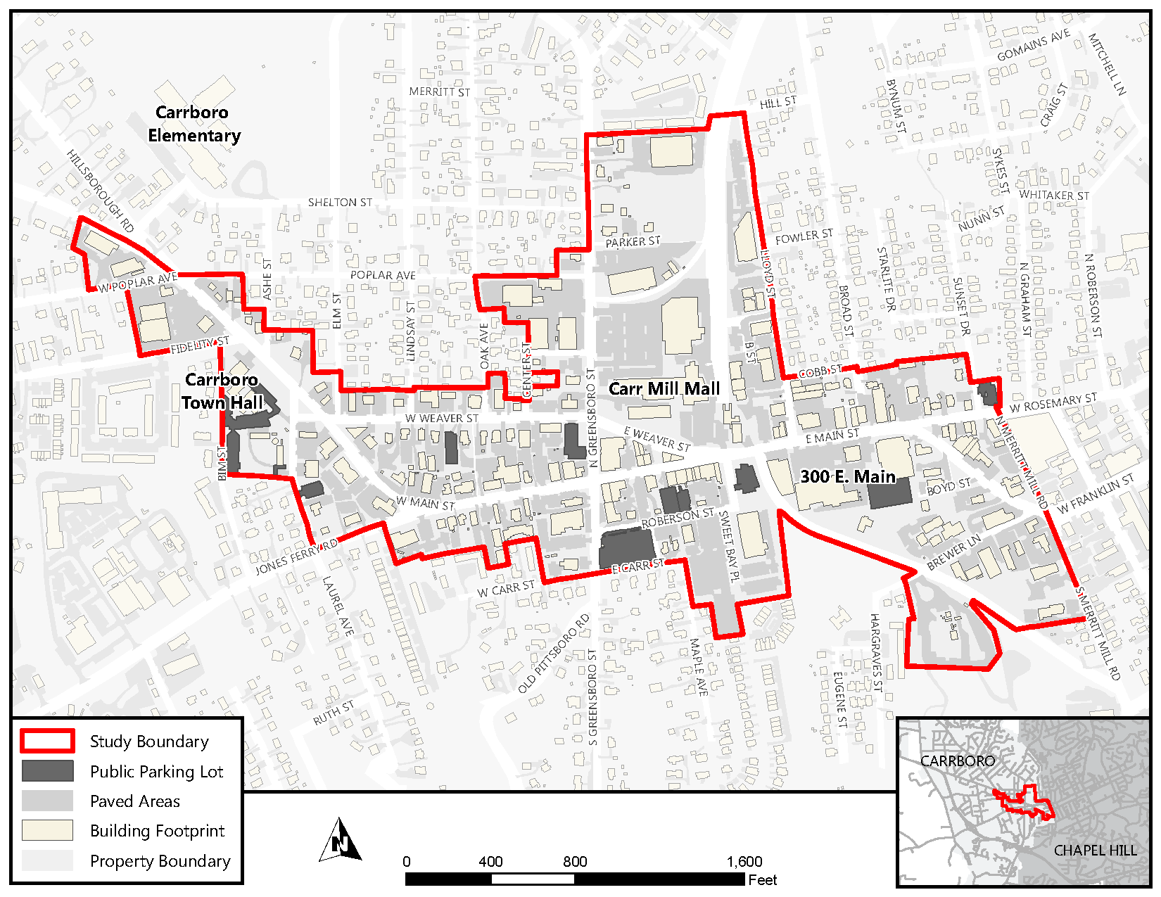 Downtown Carrboro Parking Study Area